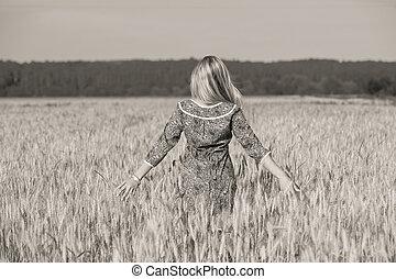 champ, girl, blé, jeune, beauté