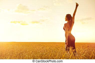 champ, girl, blé, jeune
