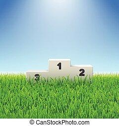 champ herbe, vert, nombres, piédestal, football