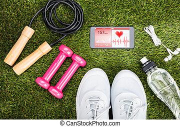 champ, herbeux, exercer equipement