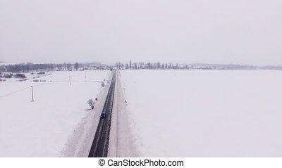 champ, hiver, route