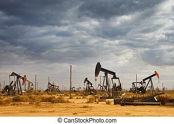 champ, huile, désert