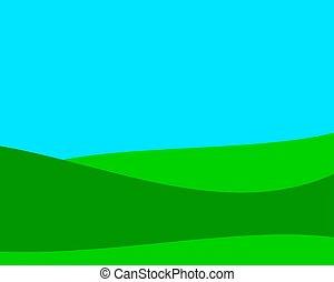 champ, illustration, vecteur, ou, pré, paysage, fond, été