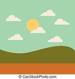champ, isolé, paysage, icône