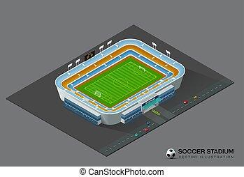 champ, isométrique, football, stade, football