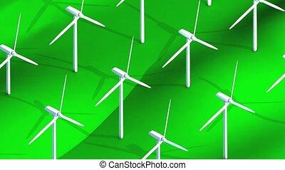 champ, isométrique, turbine, vent