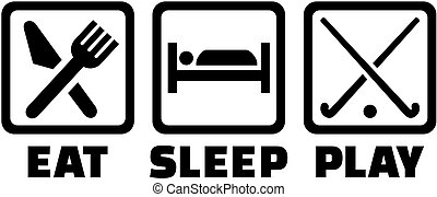 champ, jeu, sommeil, hockey, manger