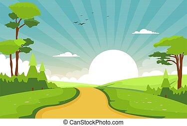 champ, levers de soleil, nature, ciel, été, terre, paysage, vert, illustration