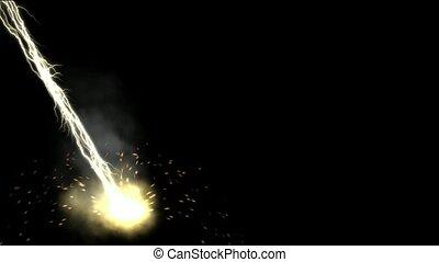 champ magnétique, &, rayons, éclair