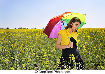champ, marche, femme, rapeseed