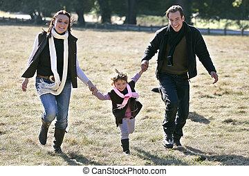 champ, marche, fille, par, parents