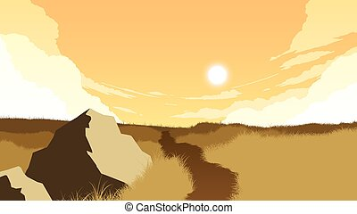 champ, paysage, illustration