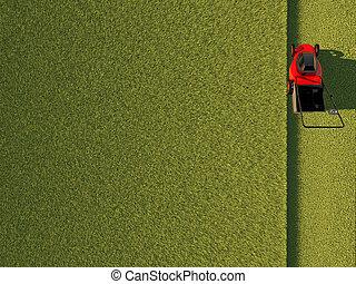 champ, pelouse, vert, faucheur