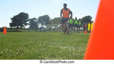 champ, pratiquer, joueur football, 4k