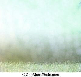 champ, résumé, fond, bokeh, brouillard
