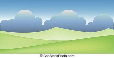 champ, résumé, paysage vert