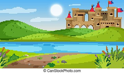 champ, scène nature, château
