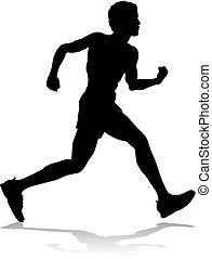 champ, silhouette, courses, piste, coureur