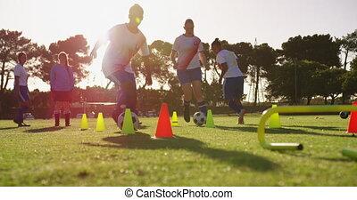 champ, slalom, équipe, football, femme, formation, 4k