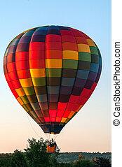 champ, sur, balloon, air chaud