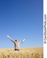 champ, tendu, blé, bras, homme