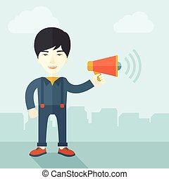 champ, tenue, megaphone., homme affaires