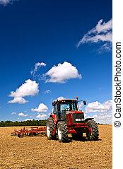 champ, tracteur, labouré