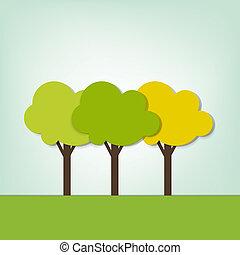 champ, trois, arbres