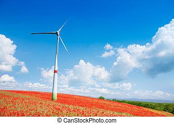 champ, turbine, fleurs, vent, pavot