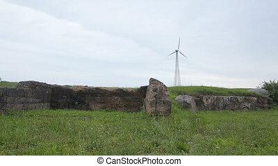 champ, turbine, ruines, vent
