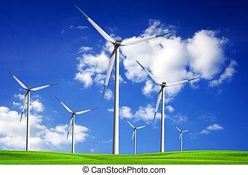 champ, turbine, vent, printemps