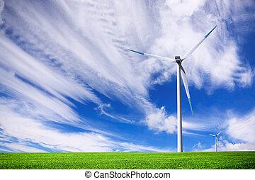 champ, turbine, vert