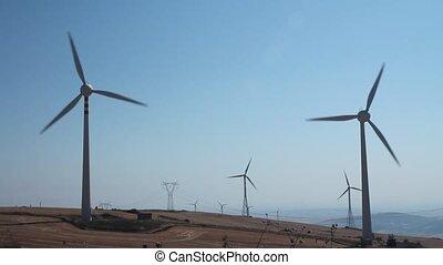 champ, turbines, vent