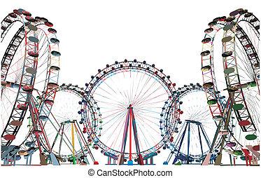 champ, vecteur, coloré, carrousel