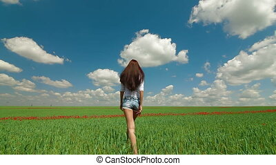 champ, vert, femme, blé, jeune