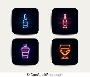 champaña, botella de cerveza, y, comida para llevar, icons., vidrio vino, signo., celebración, bebida, cervecería, takeout, coffee., vector