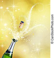 champaña., celebración, concepto