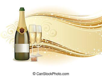 champaña, celebrar, plano de fondo
