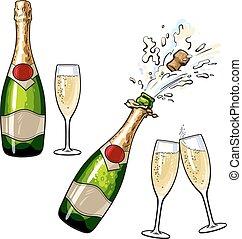 champaña, cerrado, botella abierta, anteojos