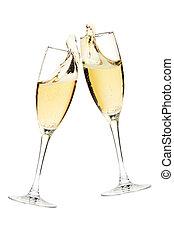 champaña, cheers!, dos, anteojos