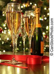 champaña, cinta, rojo, anteojos