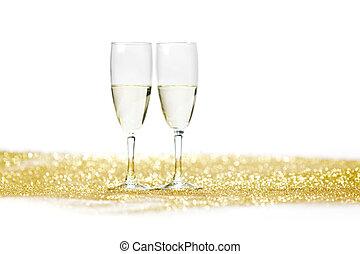 champaña, con, presente navidad