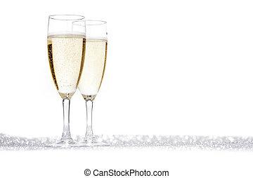 champaña, dos, Flautas