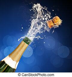 champaña, el hacer estallar, botella
