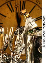 champaña, en, cubo, con, anteojos, listo, para, año nuevo