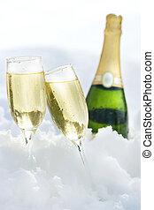 champaña, en, el, nieve
