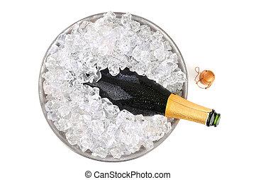 champaña, en, hielo, visión de arriba