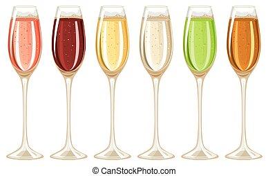 champaña, en, vidrio alto