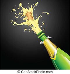 champaña, explosión, botella, corcho