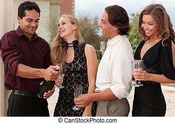 champaña, fiesta, grupo